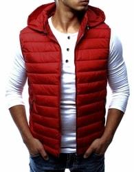 Dstreet Jedinečná červená vesta pánská