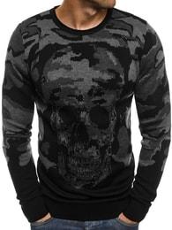 Černý módní svetr s lebkou BREEZY 9030