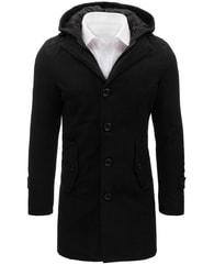 Dstreet Černý pánský kabát s kapucí - L