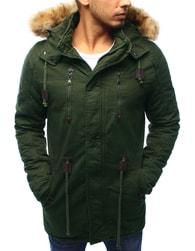 Dstreet Moderní zelená bunda na zimu s kapucí