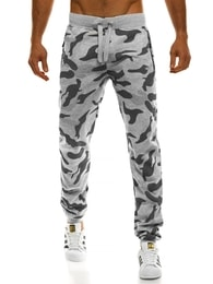Šedé maskáčové jogger kalhoty J.STYLE AK34
