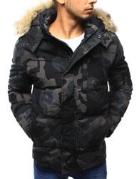 Dstreet Originální zimní bunda v černém maskáči