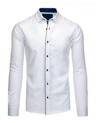 Bílá pánská košile s modrým lemem