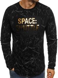 Černé módní tričko s dlouhým rukávem a potiskem J.STYLE SX022 - L