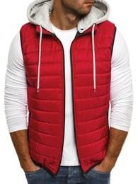 Prošívaná červená vesta s kapucí J.STYLE AK90 - M