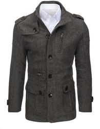 Dstreet Jedinečný vzorovaný šedo-hnědý kabát