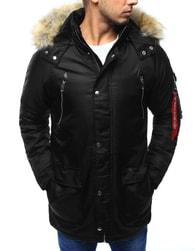 Dstreet Černá pánská bunda s dvojitým zapínáním