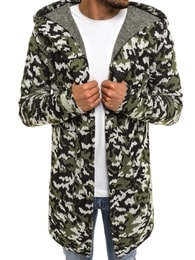 Prodloužený zelený svetr s kapucí MECHANICH 0933
