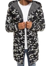 Prodloužený tmavě modrý svetr s kapucí svetr MECHANICH 0933 - L