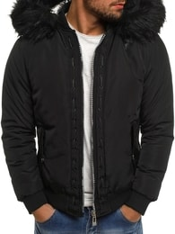 Zimní černá bunda s kožešinovou kapucí X-FEEL 88659