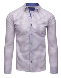 Dstreet Netradiční bílá vzorovaná košile