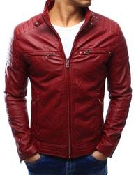 Dstreet Zajímavá červená pánská koženková bunda - S
