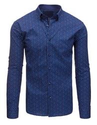 Dstreet Luxusní tmavě modrá košile s kytkami