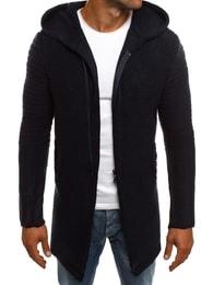 Tmavě modrý prodloužený svetr na zip MADMEXT 2124S - XXL