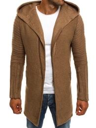 Hnědý prodloužený svetr se zipem MADMEXT 2124S - M