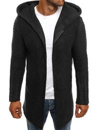 Prodloužený grafitový svetr na zip MADMEXT 2124S - XXL