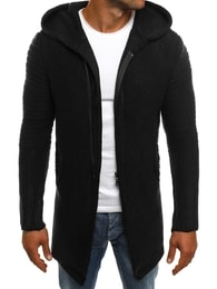 Prodloužený černý svetr na zip MADMEXT 2124S - XXL