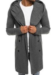 Tmavě šedá prodloužená pánská mikina na knoflíky OZONEE 0926