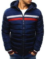 Dstreet Tmavě modrá moderní zimní bunda s barevnými pruhy