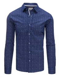 Dstreet Skvělá tmavě modrá košile s květy