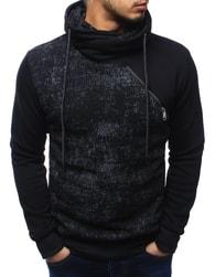 Dstreet Moderní černá pánská mikina s límcem