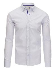 Dstreet Zajímavá bílá vzorovaná košile SLIM FIT střih