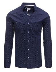 Dstreet Tmavě modrá módní SLIM FIT košile s nevšedním vzorem