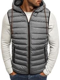 Prošívaná pánská moderní šedá vesta NATURE 4805
