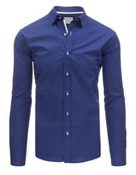 Dstreet Tmavě modrá pánská vzorovaná SLIM FIT košile