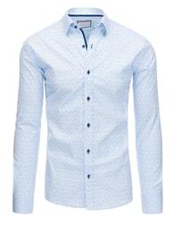 Dstreet Blankytně modrá atraktivní SLIM FIT košile s drobným vzorem