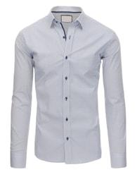 Dstreet Bílá atraktivní SLIM FIT košile s čtverečky