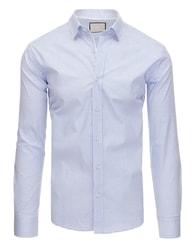 Dstreet Bílá pánská moderní SLIM FIT košile s puntíky