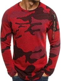 Červený maskáčový svetr s ozdobou na rameni MECHANICH 0938