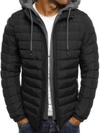 Zimní trendy černá pánská bunda s kapucí J.BOYZ X1012K