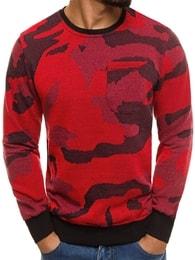 Kvalitní červený maskáčový svetr s kapsou MECHANICH 2021