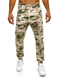 Pánské maskáčové jogger kalhoty béžové ATHLETIC 367