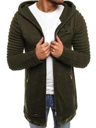 Zelený svetr s kapucí B9029S