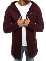 Bordó pánský svetr s kapucí B9029S - S
