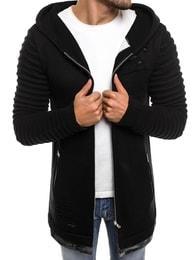 Černý pohodlný svetr s kapucí B9029S - L
