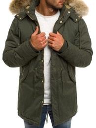 Zimní khaki bunda s kapucí X-FEEL 33183