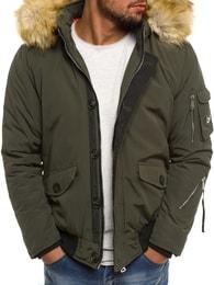 Zelená zimní bunda s kapucí X-FEEL 88660 - S