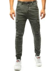 Dstreet Khaki pánské jogger kalhoty s kapsami