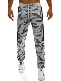Šedé maskáčové jogger kalhoty s výraznými zipy J.STYLE AK33