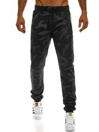 Černé maskáčové jogger kalhoty s výraznými zipy J.STYLE AK33