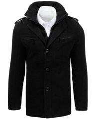 Dstreet Černý pánský kabát moderní design