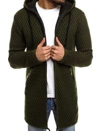 Zelený svetr s kapucí BREEZY B9041S - L