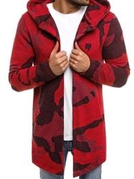 Prodloužený červený trendy pánský svetr MECHANICH 0916B