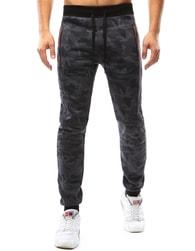 Dstreet Trendy tepláky v šedém maskáči s barevnými zipy - XXL