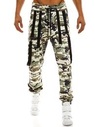 Trendy světlé maskáčové jogger kalhoty s kšandy ATHLETIC 0920