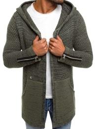 Khaki svetr s kapucí BREEZY B9025S - L